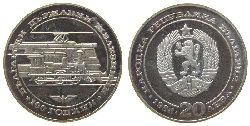 20 Leva 1988 Bulgarien Ag Eisenbahngesellschaft, alte und neue Lokomotive, Patina, etwas fleckig pp