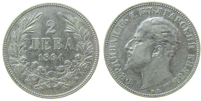 2 Leva 1894 Bulgarien Ag Ferdinand I ss