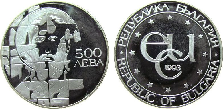 500 Leva 1993 Bulgarien Ag Ikone des heiligen Theodor Stratilat, angelaufen pp