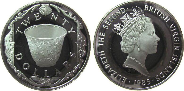 20 Dollars 1985 Britisch Virgin Inseln Ag Teetasse aus chinesischem Porzellan, Jungferninseln, minimale Reibespur pp
