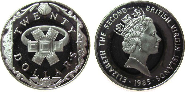 20 Dollars 1985 Britisch Virgin Inseln Ag Goldring mit Edelsteinen besetzt, Jungferninseln, minimale Handlingsmarken pp