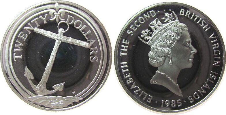 20 Dollars 1985 Britisch Virgin Inseln Ag Anker, Jungferninseln, minimal berieben pp