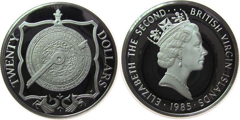 20 Dollars 1985 Britisch Virgin Inseln Ag Nokturnal (Kalenderscheibe), Jungferninseln pp