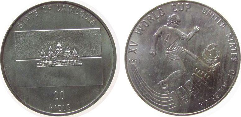 20 Riels 1991 Kambodscha Ag Fußball WM USA unz