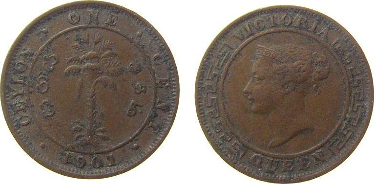 1 Cent 1901 Ceylon Ku Victoria, Belag ss