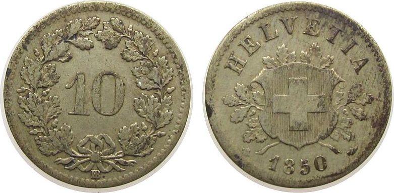 10 Rappen 1850 Schweiz Billon HMZ 1209 ss