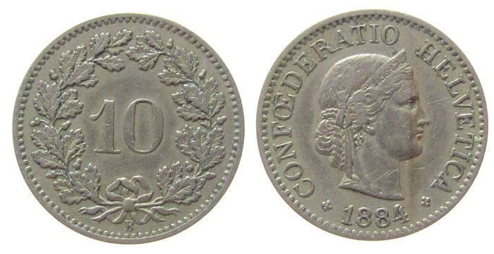 10 Rappen 1884 Schweiz KN HMZ 1210 ss