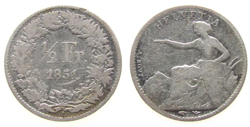 1/2 Franken 1851 Schweiz Ag HMZ 1206 schön