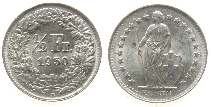 1/2 Franken 1950 Schweiz Ag HMZ 1206, kleiner Randstoß unz
