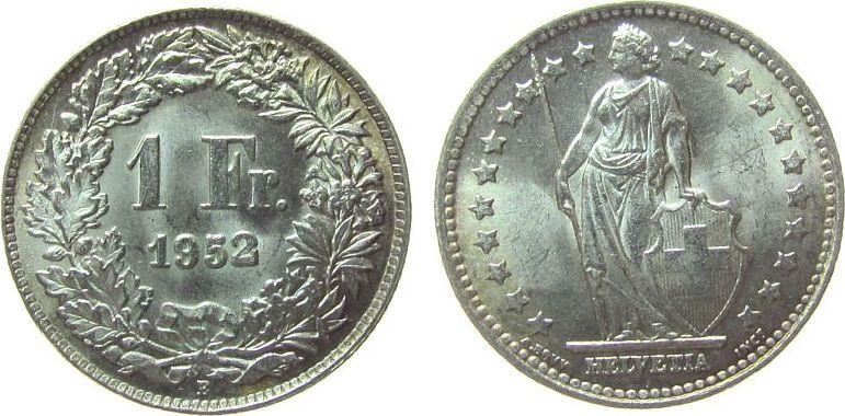 1 Franken 1952 Schweiz Ag HMZ 1204 vz-unc