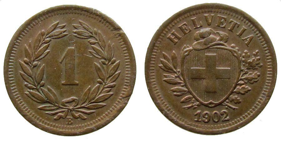 1 Rappen 1902 Schweiz Br HMZ 1215, mehrere kleine Randfehler ss+