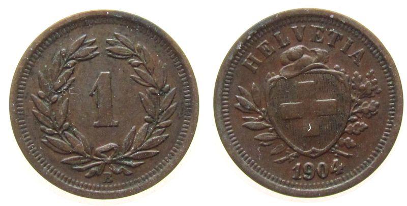 1 Rappen 1904 Schweiz Br HMZ 1215 ss+