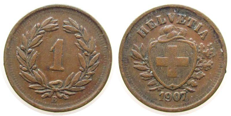 1 Rappen 1907 Schweiz Br HMZ 1215 ss