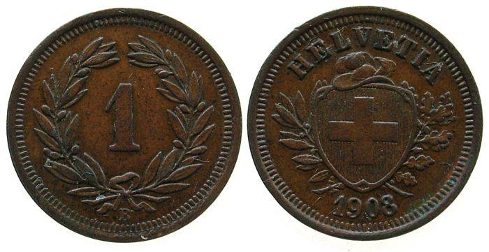 1 Rappen 1908 Schweiz Br HMZ 1215 vz