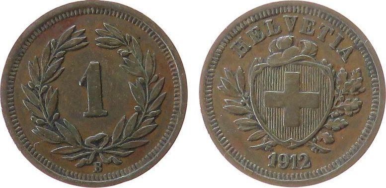 1 Rappen 1912 Schweiz Br HMZ 1215, kleiner Randfehler ss