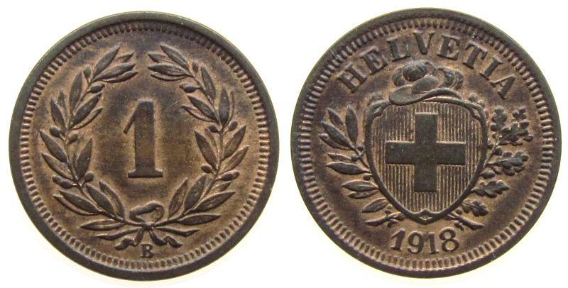 1 Rappen 1918 Schweiz Br HMZ 1215 vz