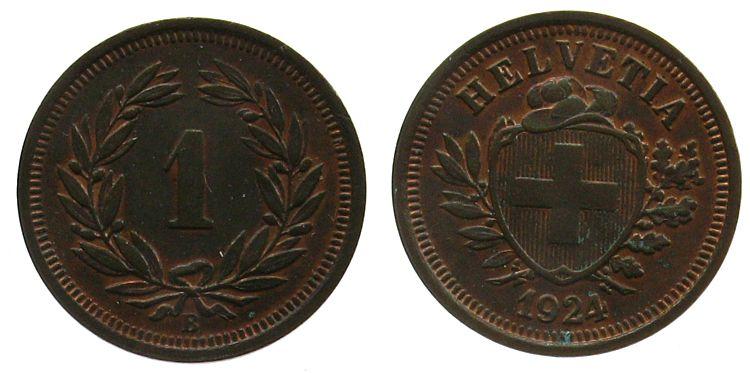 1 Rappen 1924 Schweiz Br HMZ 1215 vz