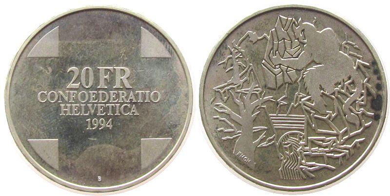 20 Franken 1994 Schweiz Ag Teufelsbrücke vz-unc