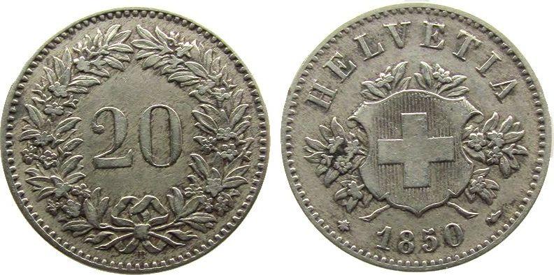 20 Rappen 1850 Schweiz Billon HMZ 1207, BB, winzige Randkerbe ss+