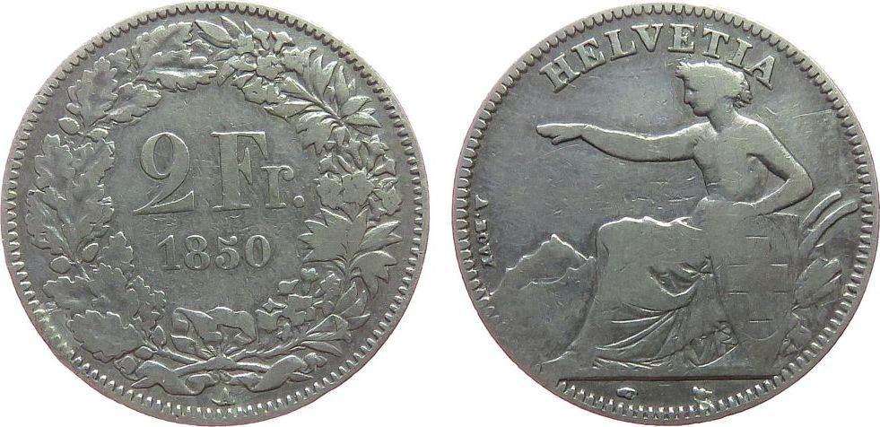2 Franken 1850 Schweiz Ag Helvetia fast ss