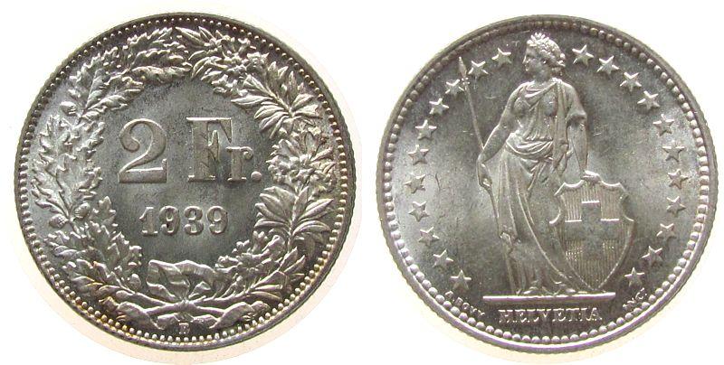 2 Franken 1939 Schweiz Ag HMZ 1202 stgl-