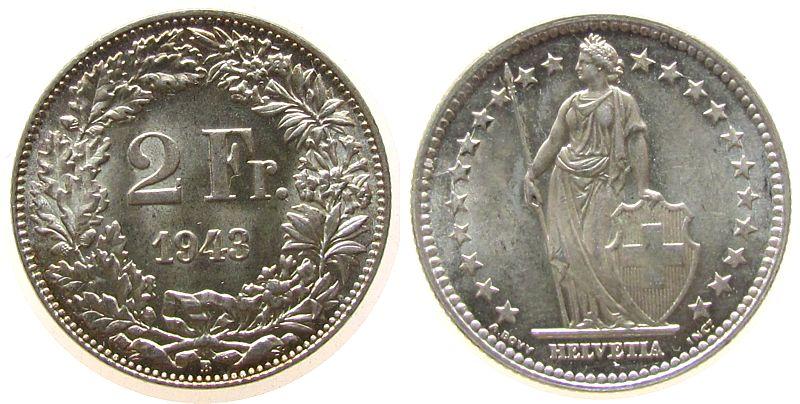 2 Franken 1943 Schweiz Ag HMZ 1202 stgl-