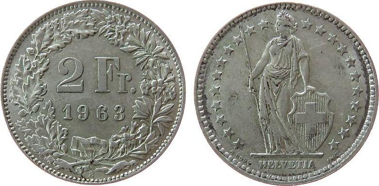 2 Franken 1963 Schweiz Ag HMZ 1202 unz