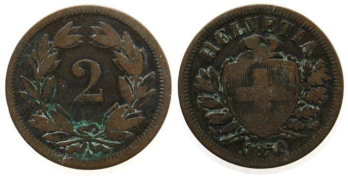 2 Rappen 1850 Schweiz Ku HMZ 1213, A fast ss