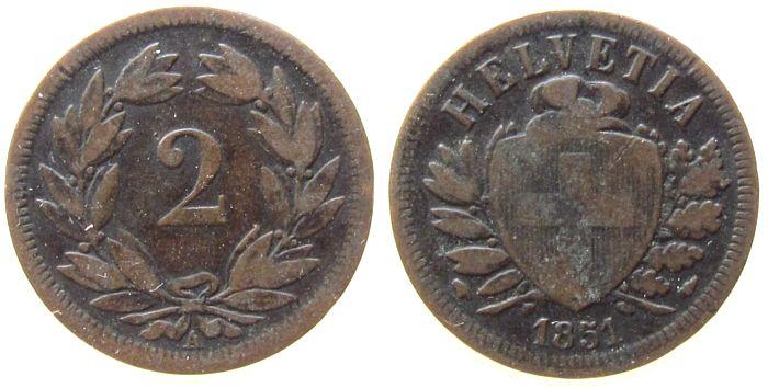 2 Rappen 1851 Schweiz Ku HMZ 1213 fast ss