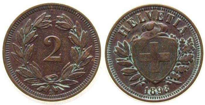 2 Rappen 1893 Schweiz Br HMZ 1213 ss-vz