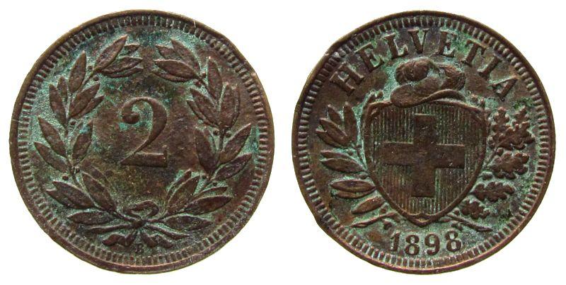 2 Rappen 1898 Schweiz Br HMZ 1213, korrodiert schön