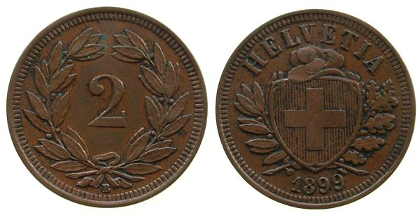 2 Rappen 1899 Schweiz Br HMZ 1213 ss-vz