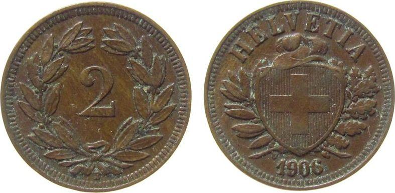 2 Rappen 1906 Schweiz Br HMZ 1213 ss