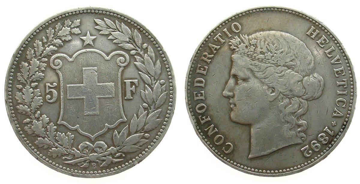 5 Franken 1892 Schweiz Ag kleine Randstöße ss