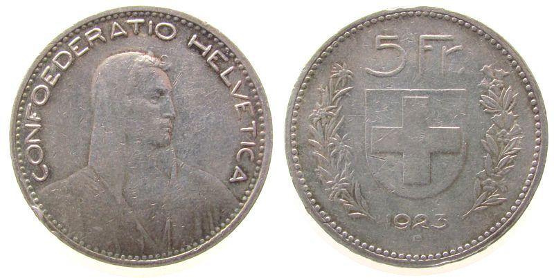 5 Franken 1923 Schweiz Ag HMZ 1199, Patina, Randstoß ss