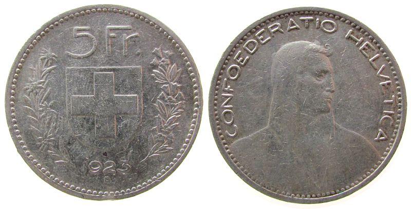 5 Franken 1923 Schweiz Ag HMZ 1199, kleiner Randstoß ss