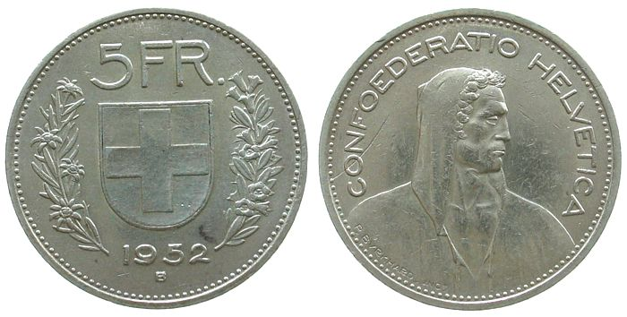 5 Franken 1952 Schweiz Ag HMZ 1200, Fremdkörperprägung ss+