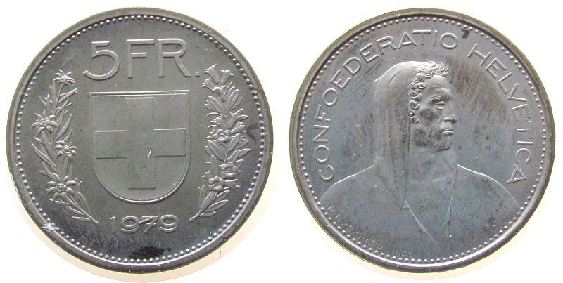 5 Franken 1979 Schweiz KN HMZ 1200 stgl