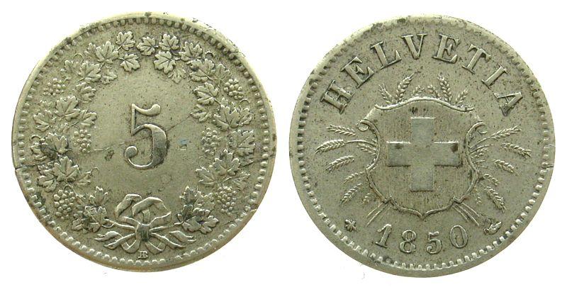 5 Rappen 1850 Schweiz Billon HMZ 1211, BB, Schrötlingsriß ss+