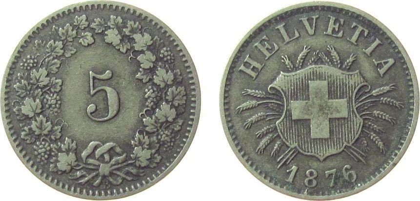 5 Rappen 1876 Schweiz Billon HMZ 1211, B, etwas Belag ss+