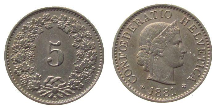5 Rappen 1881 Schweiz KN HMZ 1212 vz