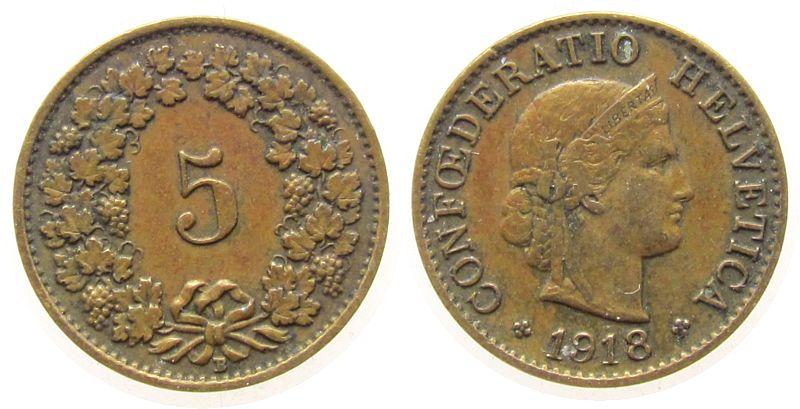 5 Rappen 1918 Schweiz Ms Helvetia ss
