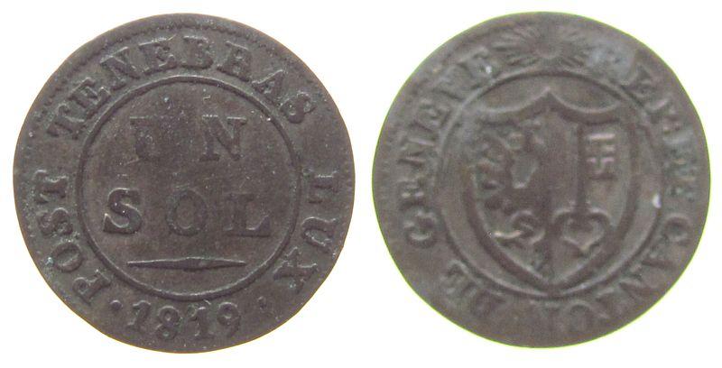1 Sol 1819 Schweiz Kantone Billon Genf fast ss