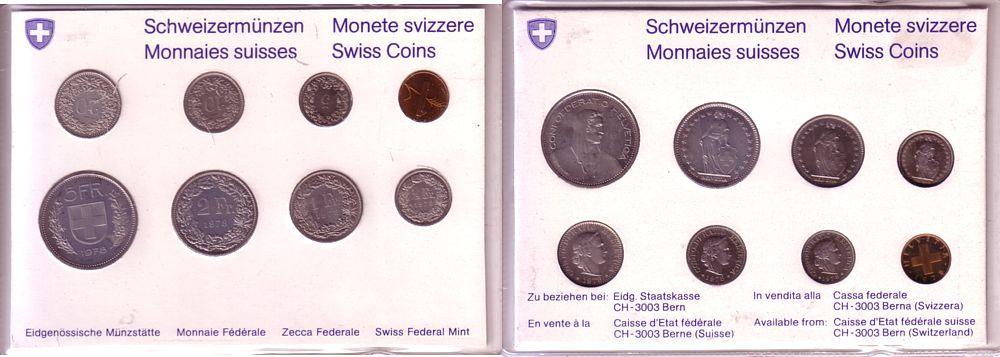 8,86 Franken 1978 Schweiz div. Kursmünzensatz, 8 Münzen stgl