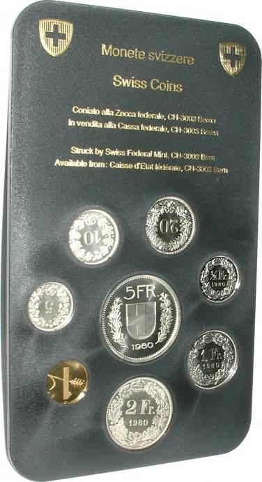 8,86 Franken 1980 Schweiz div. Kursmünzensatz, 8 Münzen stgl