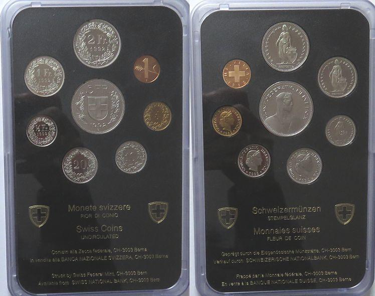 8,86 Franken 1992 Schweiz div. Kursmünzensatz, 8 Münzen, minimale Gebrauchsspuren stgl