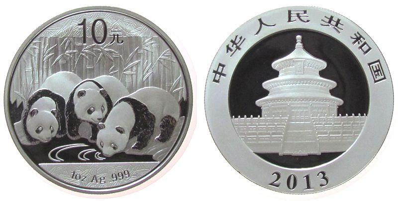 10 Yuan 2013 China VR Ag Panda, ohne Etui, ohne Zertifikat stgl