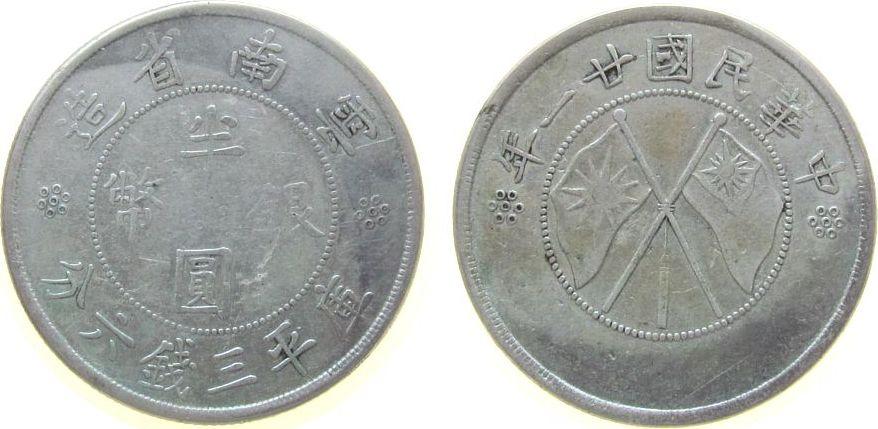 50 Cents 1932 China Ag Yunnan, Jahr 21 ss