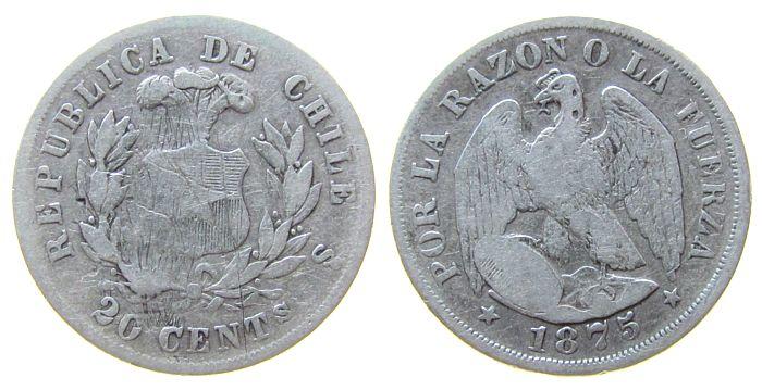 20 Centavos 1875 Chile Ag Kondor, Kratzer schön