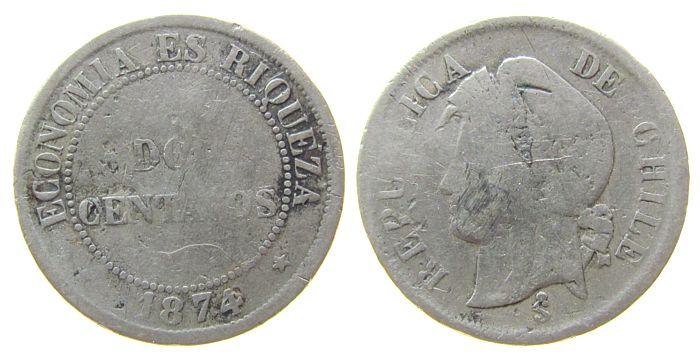 2 Centavos 1874 Chile KN Frauenkopf sge-schön